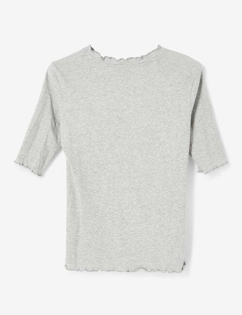 Basic grey marl ribbed T-shirt