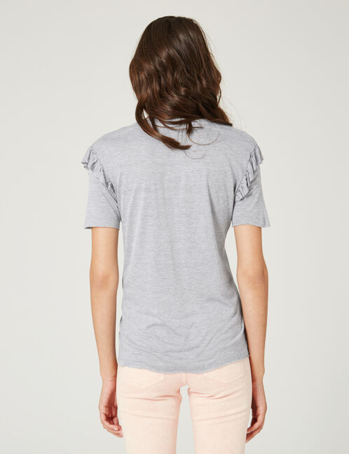 Grey marl T-shirt with embroidered detail