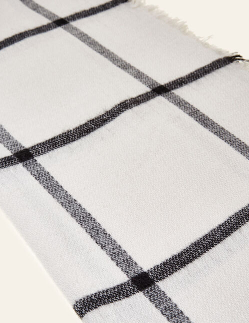 Cream and black large checked scarf