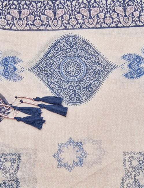 Navy blue and pink oriental print scarf