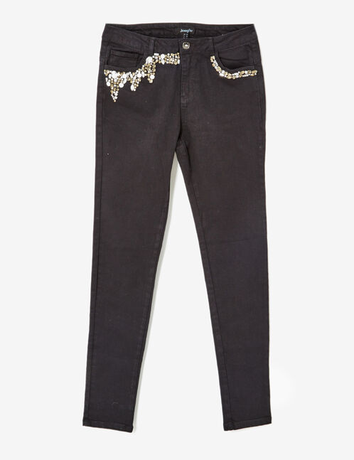 Black trousers with rhinestone detail