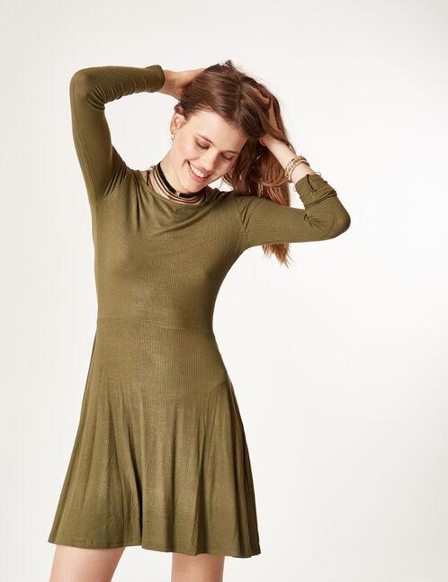 robe côtelée évasée kaki