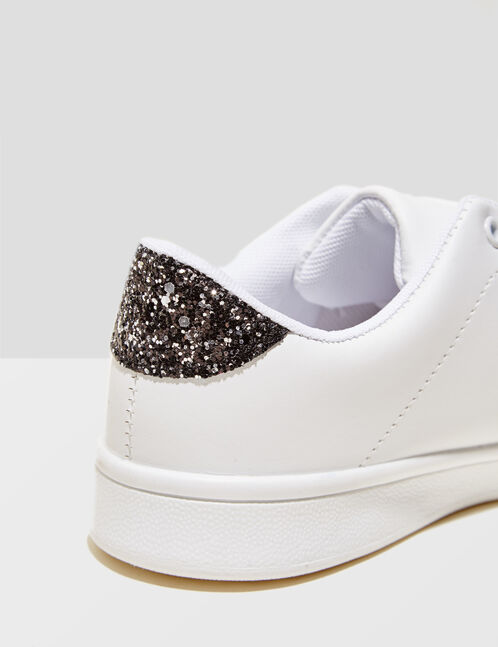 White trainers with gold detail