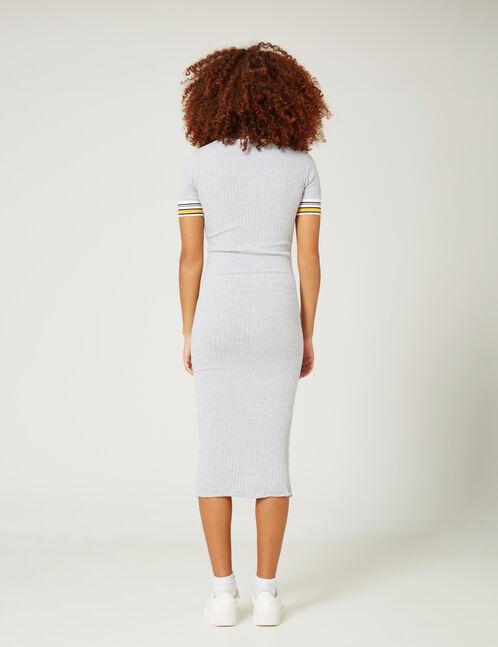 robe longue côtelée gris chiné