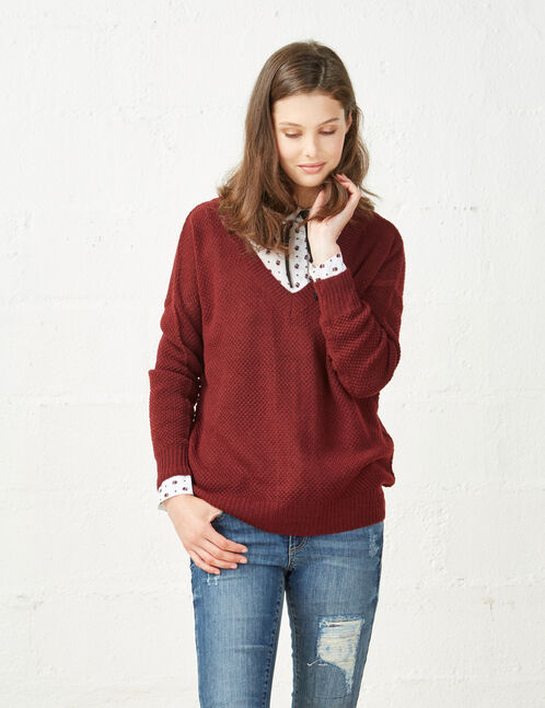 Burgundy jumper with lace-up back