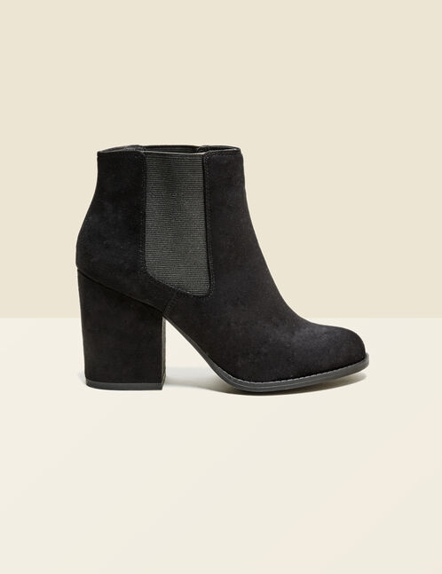 Burgundy imitation suede elasticised ankle boots