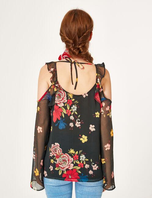 blouse épaules ajourées noire
