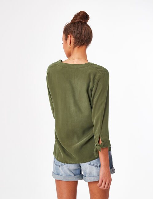 Khaki V-neck shirt