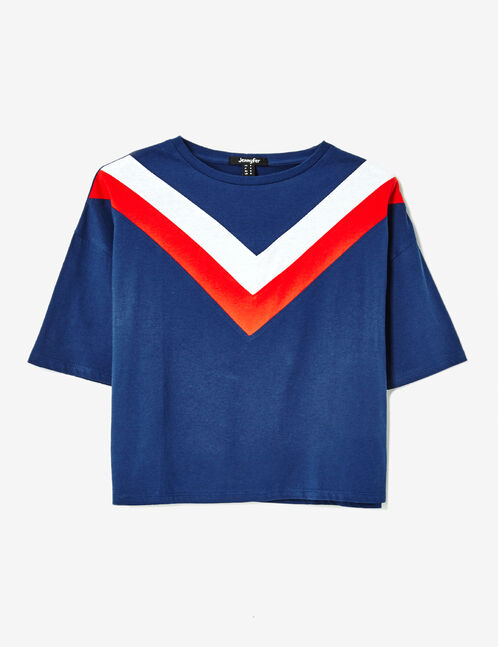 Navy blue, red and white tricolour T-shirt
