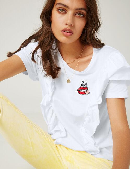 tee-shirt à volants blanc