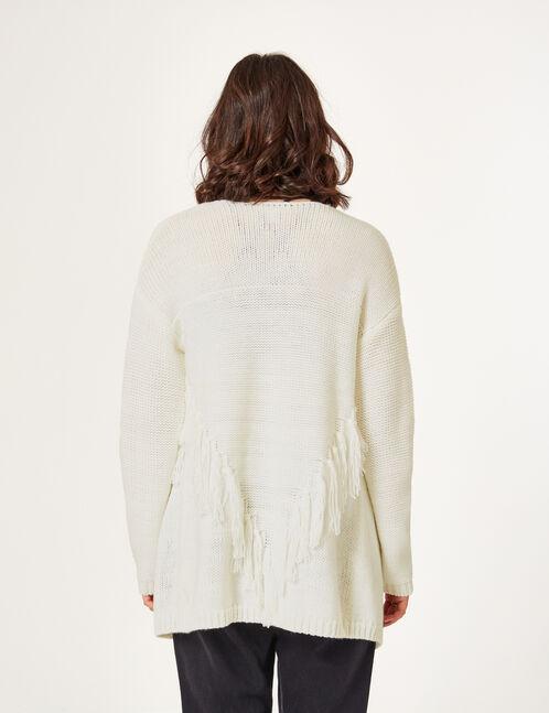 Cream open cardigan with tassel detail