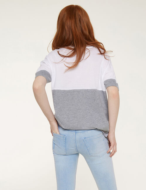 White and grey marl two-tone embroidered T-shirt