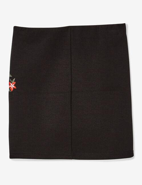 Black embroidered tube skirt