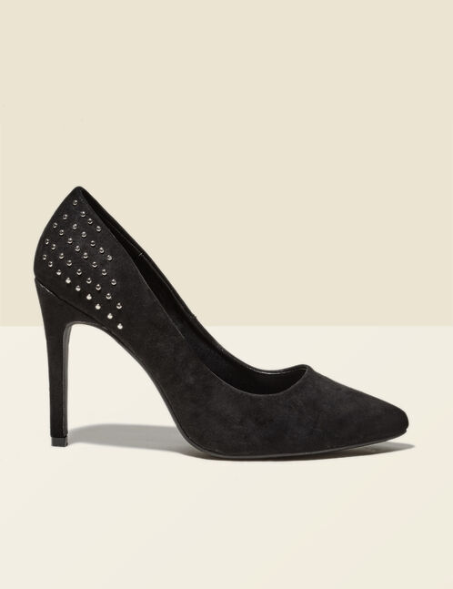 Black pointed court shoes with stud detail