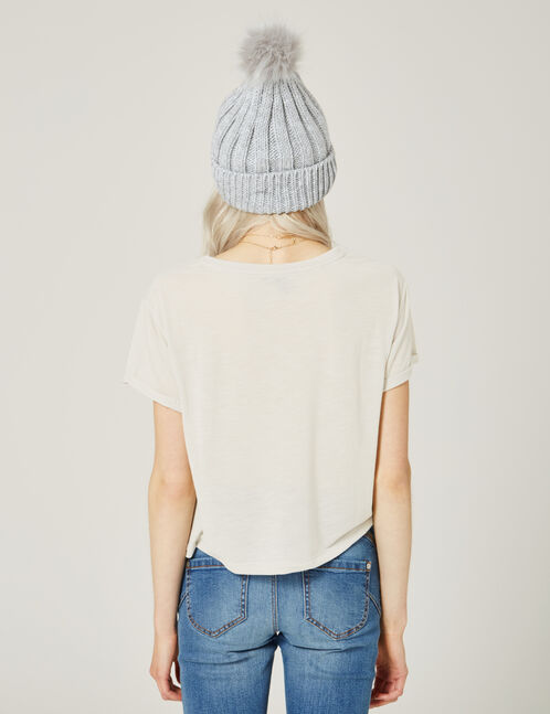 Grey marl crop top with pocket detail