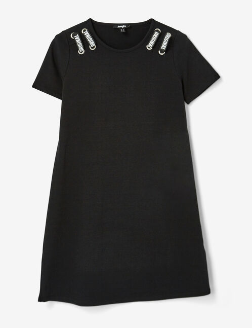 Black dress with text design and eyelet detail