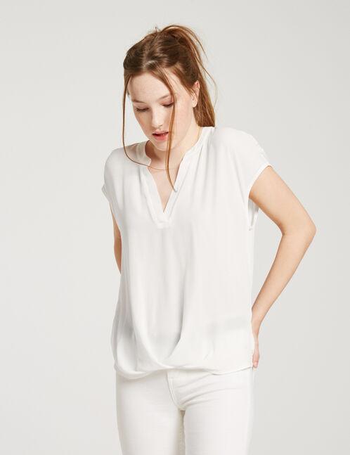 White V-neck chiffon blouse