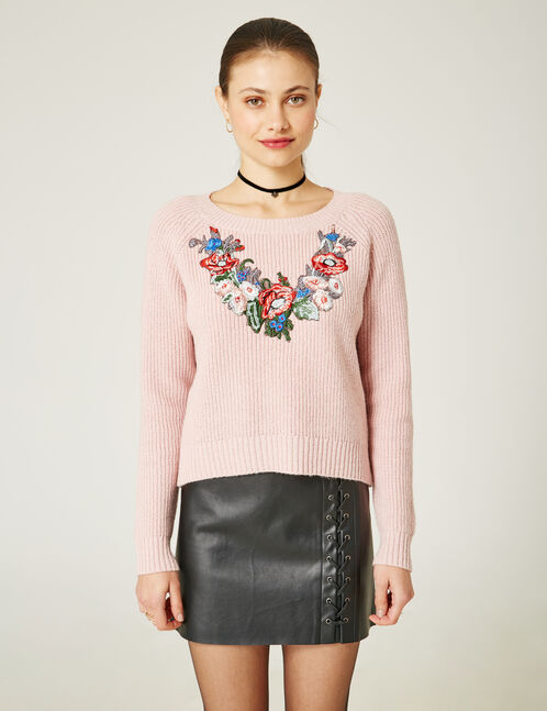 Pink marl jumper with embroidered floral detail