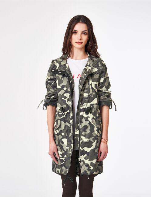 parka légère imperméable camouflage kaki