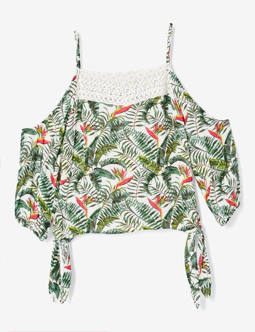 blouse imprimé tropical blanc