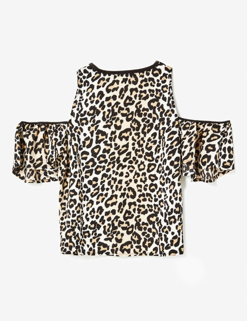 Camel and black leopard print cold shoulder blouse
