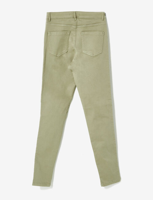 Khaki high-waisted ripped trousers