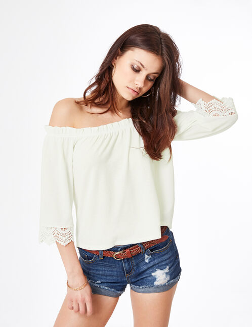 Cream off-the-shoulder top