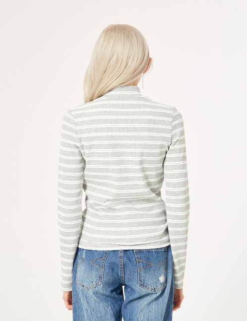 Grey marl and white top with cut-out detail