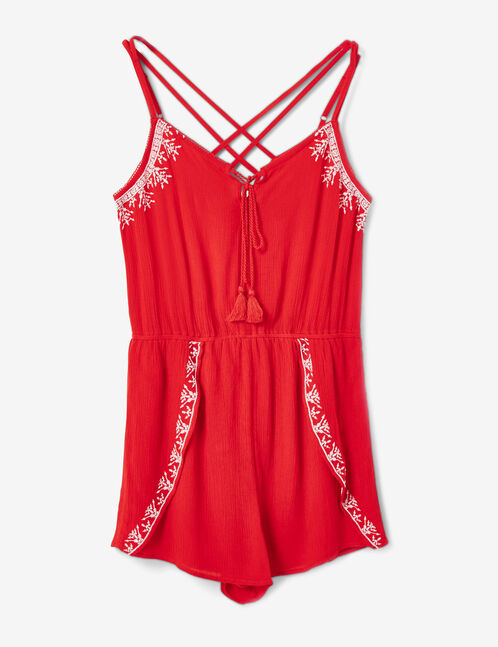 Red playsuit with embroidery detail