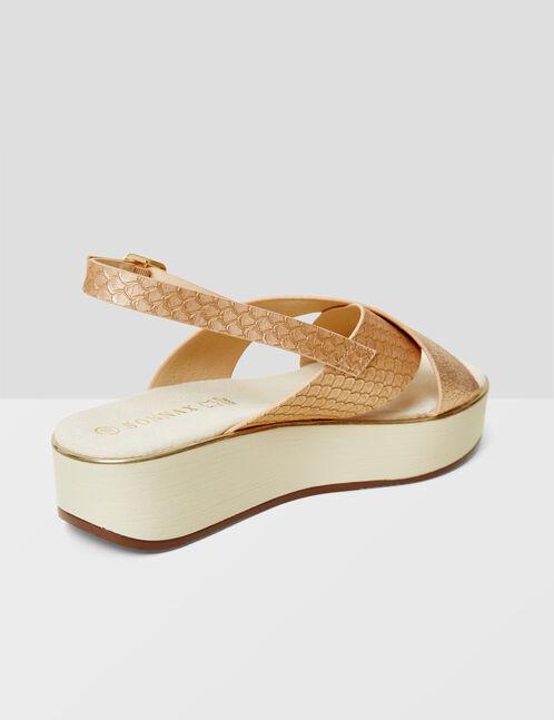 sandales compensées rose clair