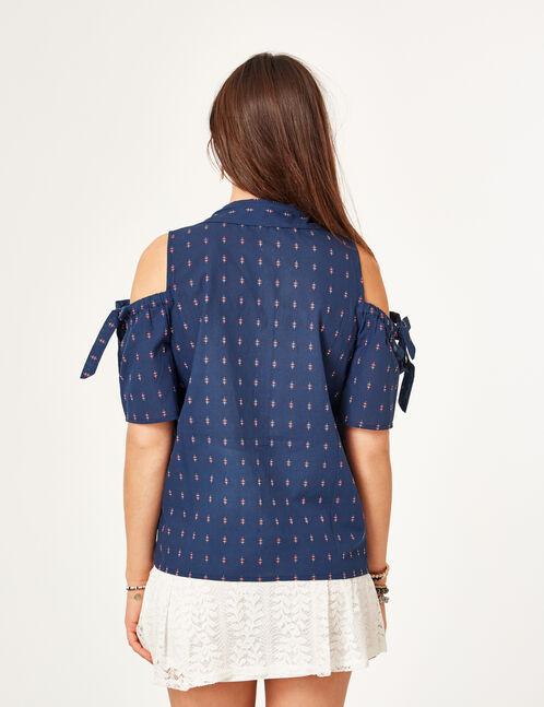 chemise épaules ajourées bleu marine
