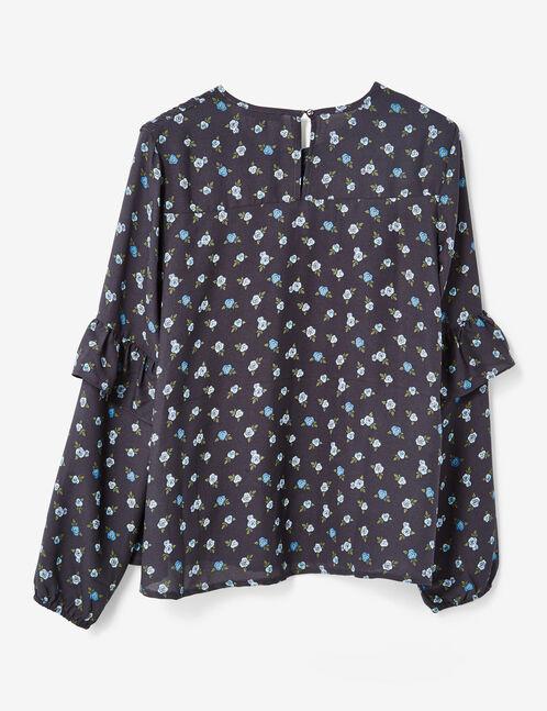 Navy blue floral print blouse