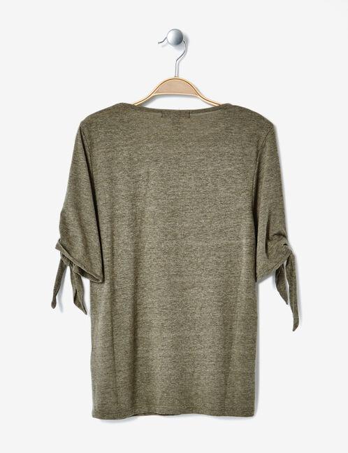 tee-shirt manches à nouer kaki chiné