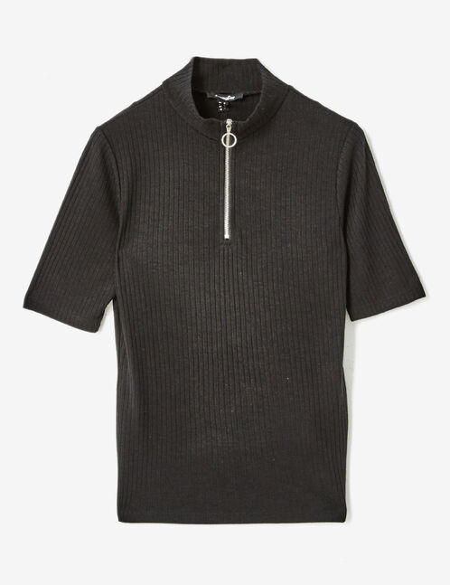 Black T-shirt with zip detail