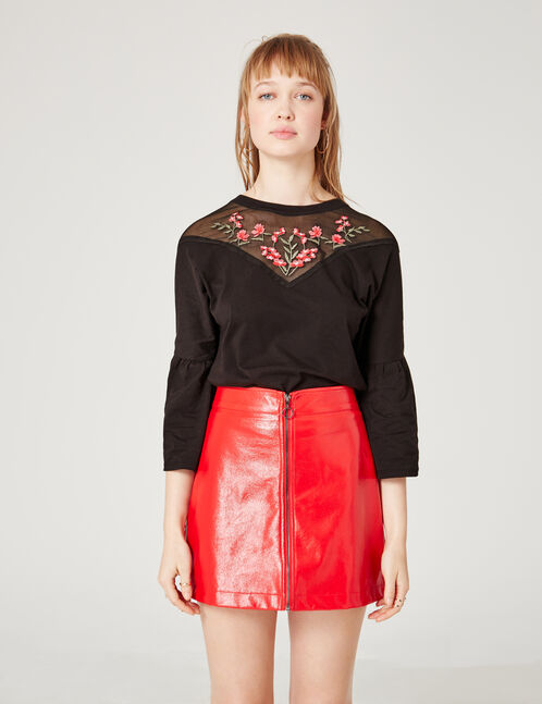 Black mixed fabric T-shirt with embroidered detail
