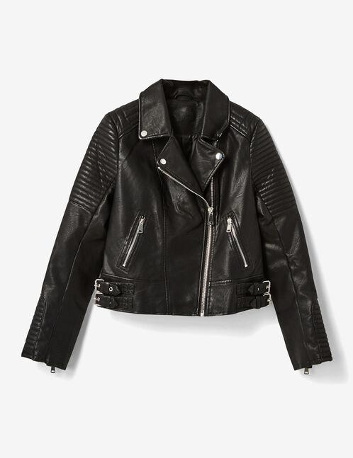 veste biker matelassée noire