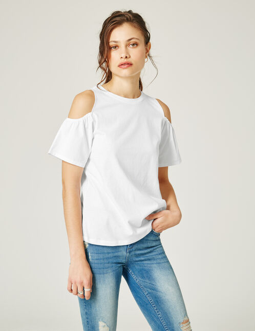 White T-shirt with cold shoulder