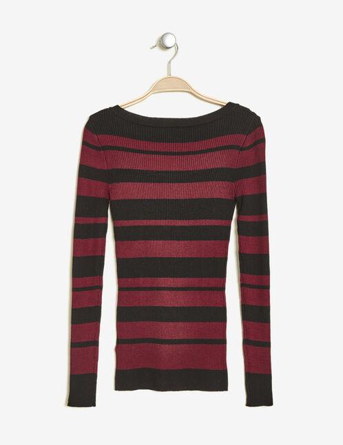 Burgundy and black striped ribbed jumper