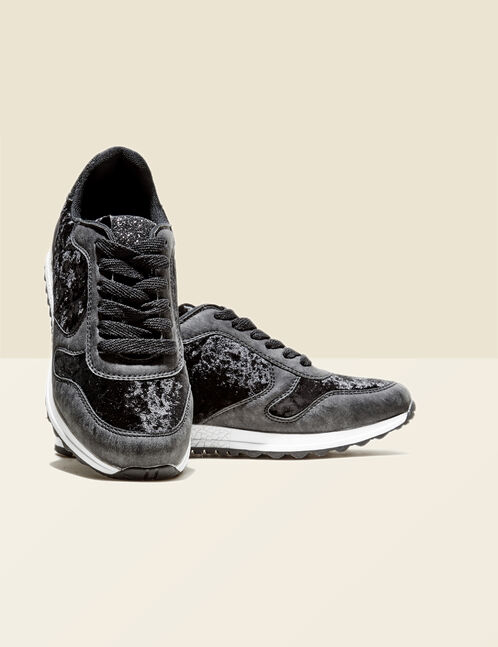 Black city-style trainers with sparkly detail