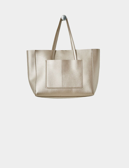 Chestnut brown shiny tote bag