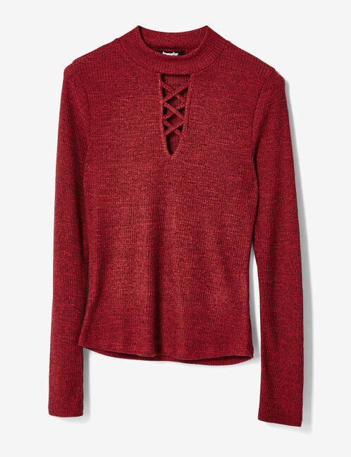 Burgundy marl top with cut-out detail