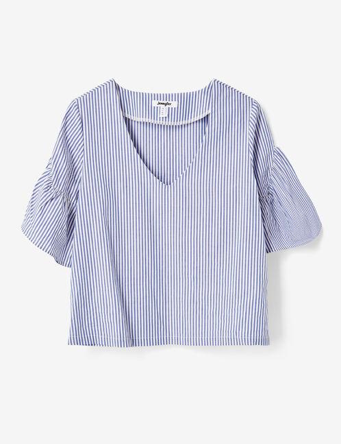 blouse rayée décolleté v bleu clair et écrue