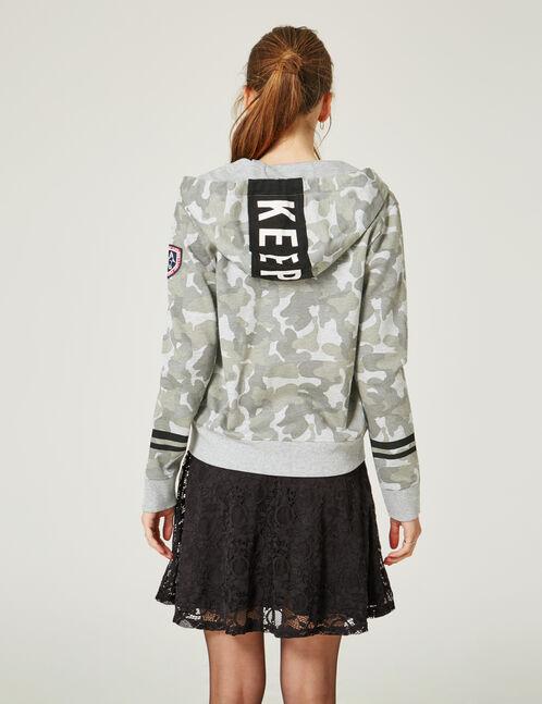 sweat zippé keep track camouflage kaki et gris