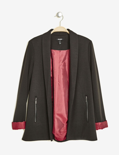 Black blazer with contrasting burgundy lining