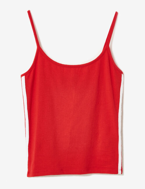 Red camisole with stripe detail