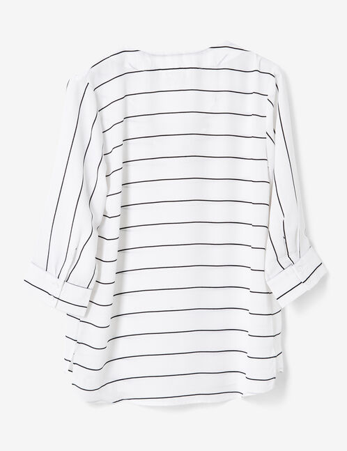 Cream and black striped blouse with lacing detail