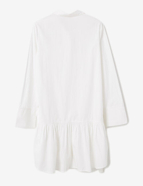 White dress with frill detail
