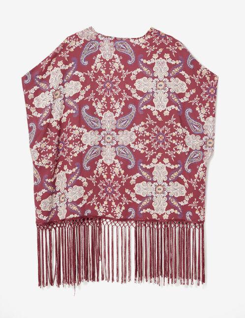 Burgundy paisley print kimono