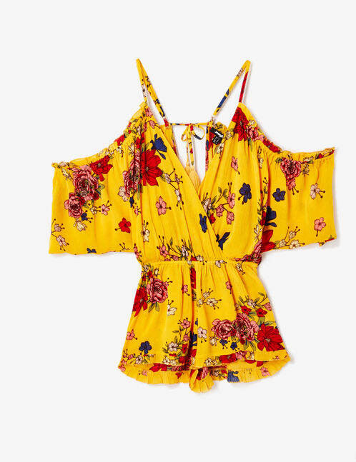 Ochre floral playsuit