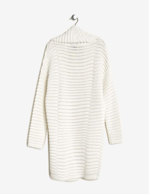 Cream textured longline cardigan